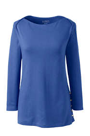 Women's Plus Size Cotton Polyester Three Quarter Sleeve Button Hem Top