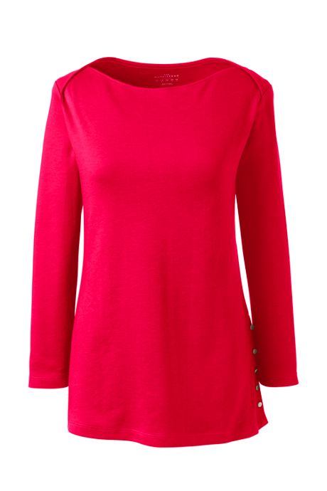 Women's 3/4 Sleeve Button Hem Top