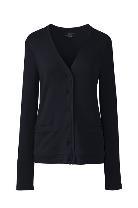 School Uniform Women Petite Cotton Polyester V-neck Pocket Cardigan
