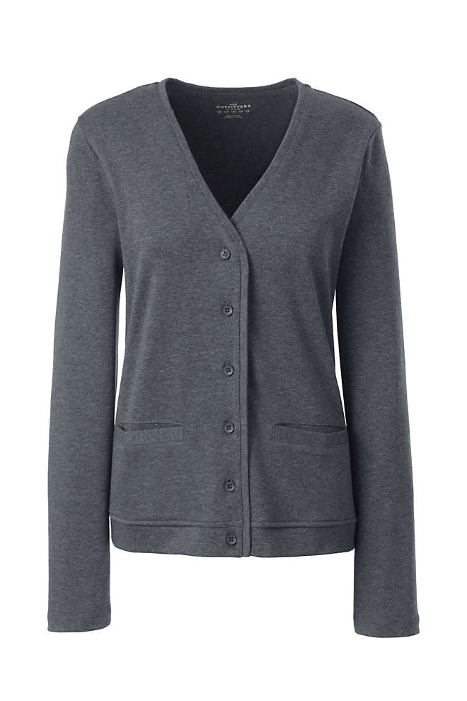 Women's Plus Size Cotton Polyester V-neck Pocket Cardigan, Front