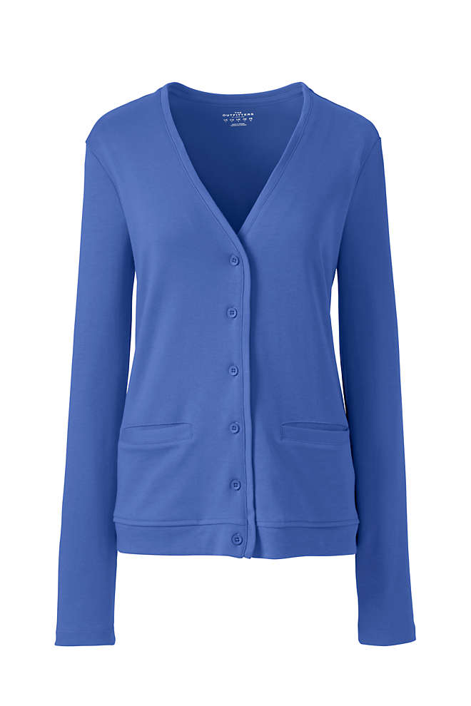 Women's Cotton Polyester V-neck Pocket Cardigan, Front