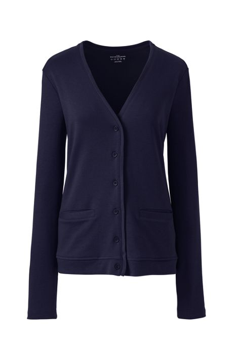 Women Petite Cotton Polyester V-neck Pocket Cardigan