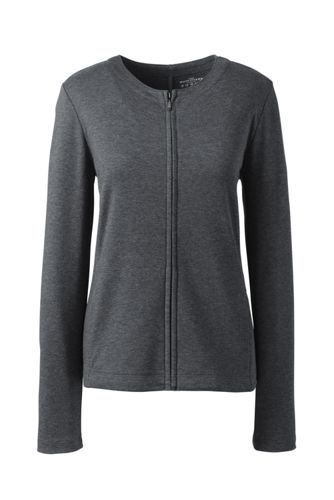 Womens Petite Striped Ponte Jersey Hoodie - 10 -12 - Grey Lands End