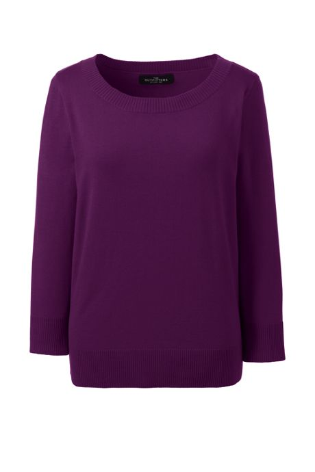Women's Petite Performance 3/4 Sleeve Scoop Sweater