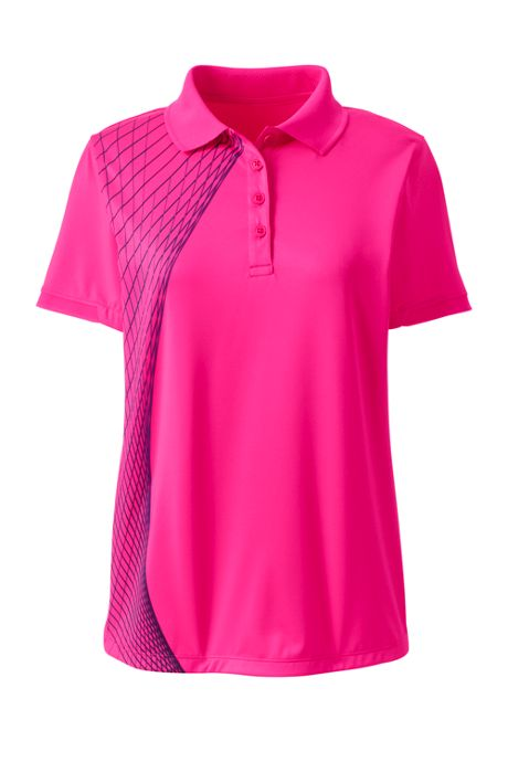 Women's Short Sleeve Printed Active Polo Shirt