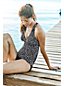 Women's D-Cup Beach Living Swing Scatter Dot Tankini Top