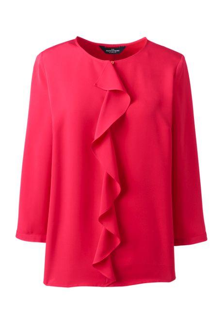 Women's Plus Size 3/4 Sleeve Ruffle Soft Blouse