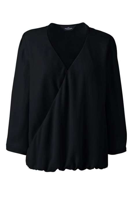 Women's 3/4 Sleeve Wrap Crepe Blouse