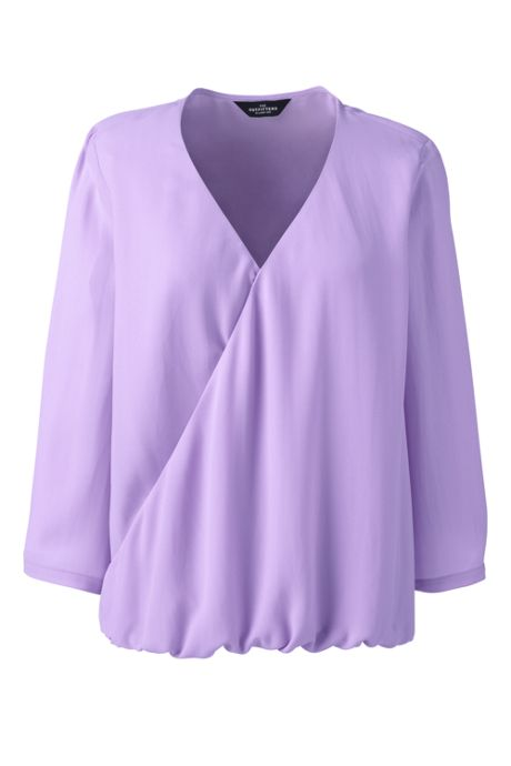 Women Plus Size 3/4 Sleeve Wrap Crepe Blouse