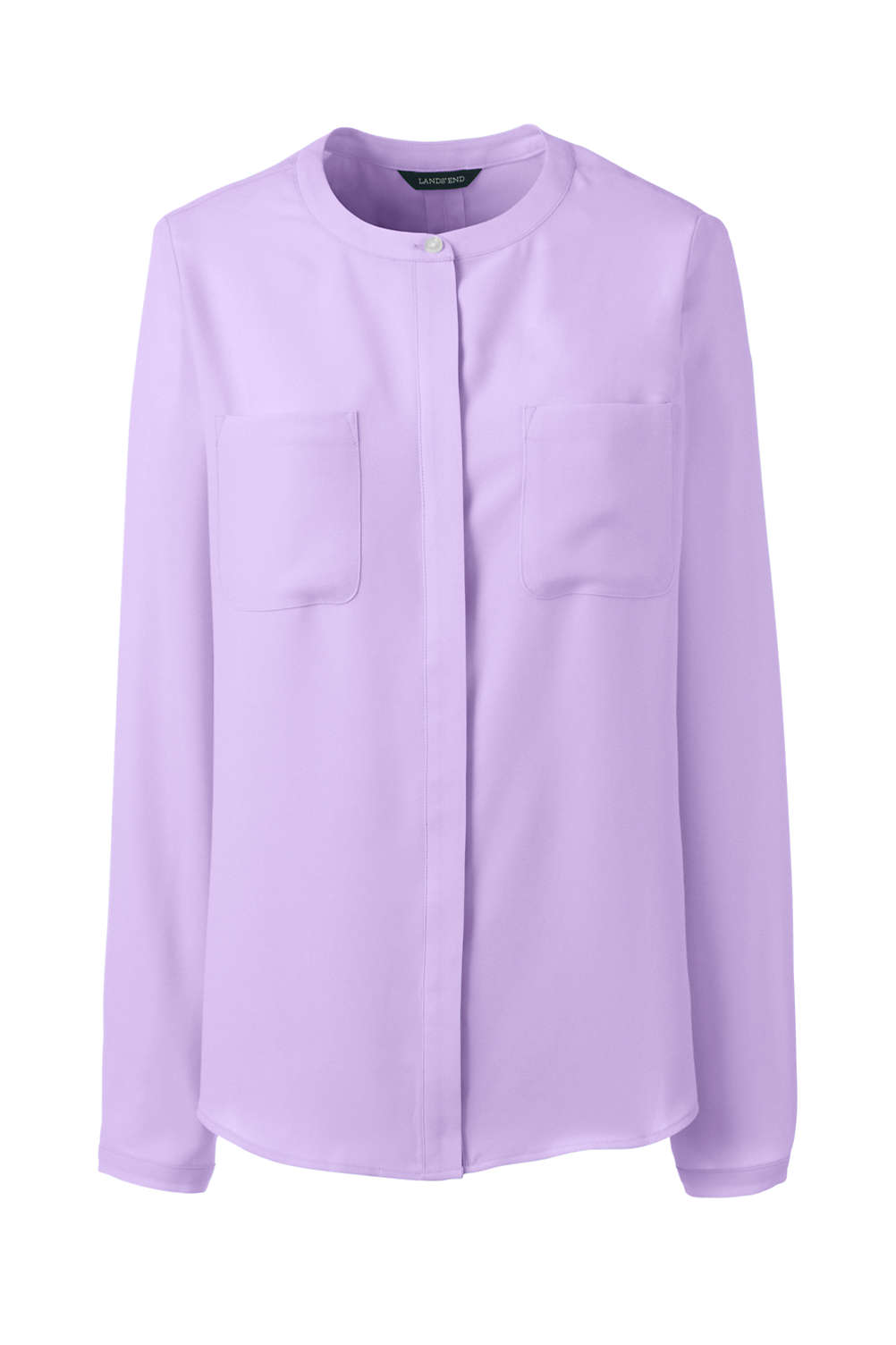 dd5d9be944a77d Women's Long Sleeve Covered Placket Crepe Blouse from Lands' End