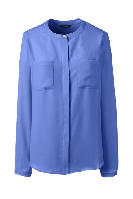 Women's Long Sleeve Covered Placket Crepe Blouse