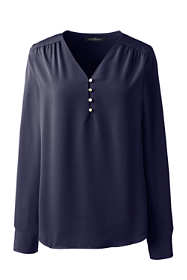Women's Plus Size Long Sleeve Popover Soft Blouse