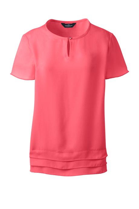Women's Plus Keyhole Layered Hem Crepe Blouse