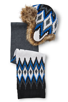 Boys' Chunky Knit Fairisle Trapper And Scarf Set