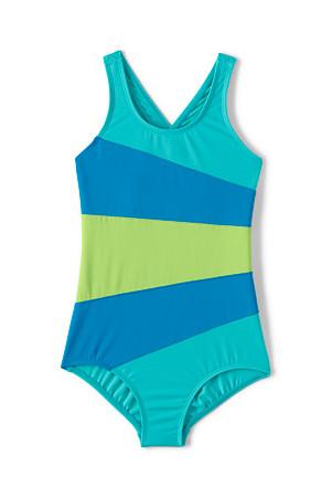 5b4dfaf1ed Girls' Smart Swim Multi Colourblock Swimsuit | Lands' End