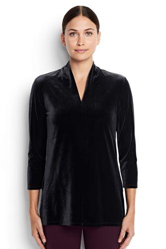 Women's Regular Long Sleeve Velvet Tunic