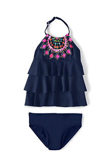 Girls' Tiered Ruffle Tankini