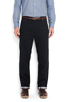 Men's Flannel-lined Black Jeans