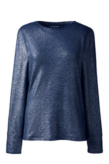 Women's Cotton/Modal Metallic Crew Neck