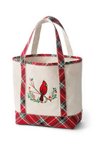 Christmas Embroidered Medium Open Top Canvas Tote Bag