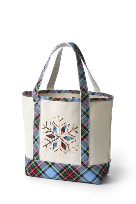 Christmas Embroidered Medium Open Top Tote