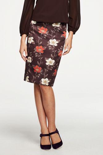 Women's Print Duchess Satin Pencil Skirt