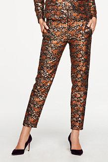 Women's Metallic Brocade Slim Fit Trousers