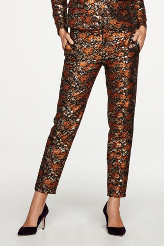 Le Pantalon Slim Doré Fleuri, Femme