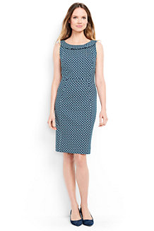 Women's  Portrait Collar Print Jersey Dress
