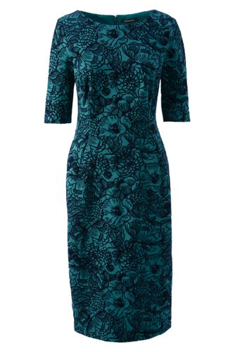 Women's Regular Flock Print Ponte Jersey Darted Dress