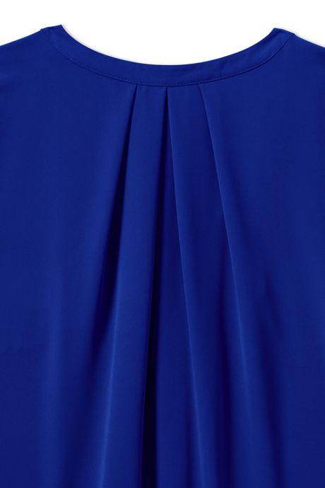 Women's Short Sleeve Pleated Scoop Soft Blouse