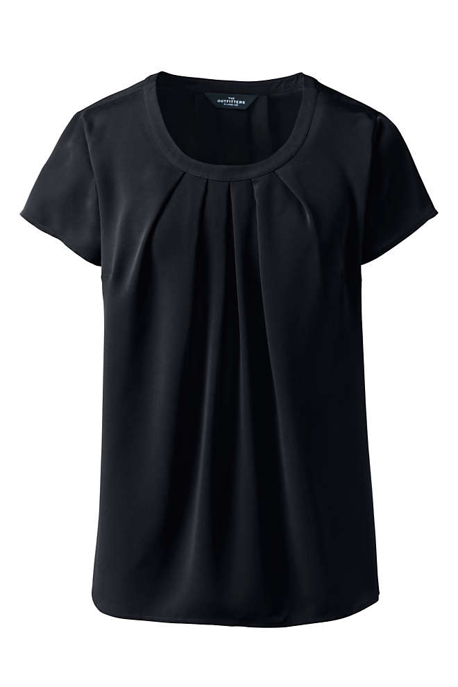 Women's Short Sleeve Pleated Scoop Soft Blouse, Front