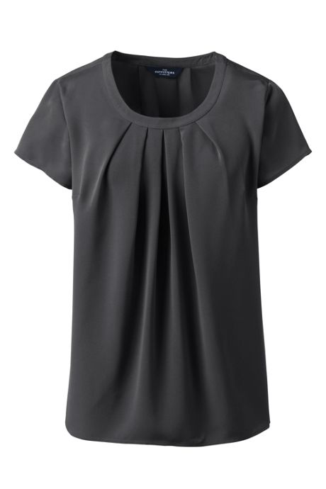 Women's Short Sleeve Pleated Scoop Soft Blouse