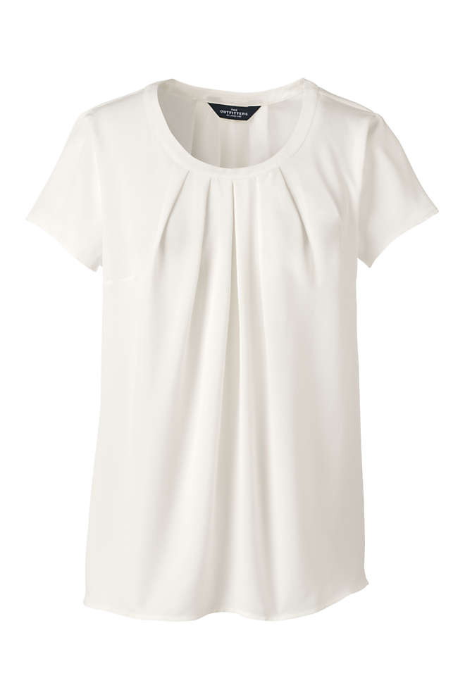 Women's Plus Size Short Sleeve Pleated Scoop Soft Blouse, Front