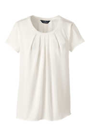 Women's Plus Size Short Sleeve Pleated Scoop Soft Blouse