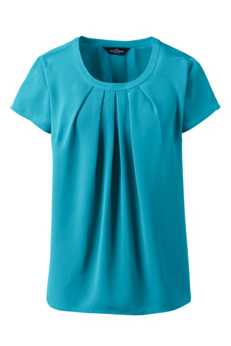 Women's Plus Size Short Sleeve Pleated Scoop Soft Blouse