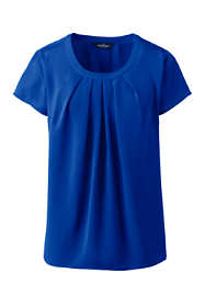 Women's Petite Short Sleeve Pleated Scoop Soft Blouse