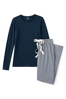 Gestreiftes Pyjama-Set aus Baumwoll-Jersey für Damen