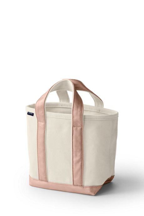 Small Natural Rose Gold Open Top Canvas Tote Bag