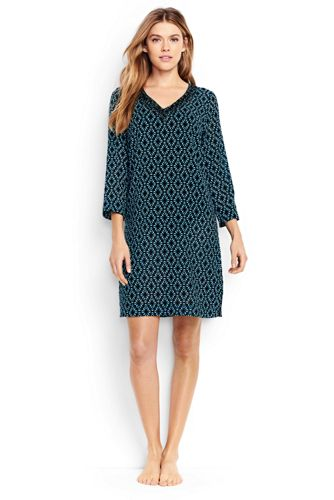 Women's Regular Cotton Crepe Star Print Beach Cover-up