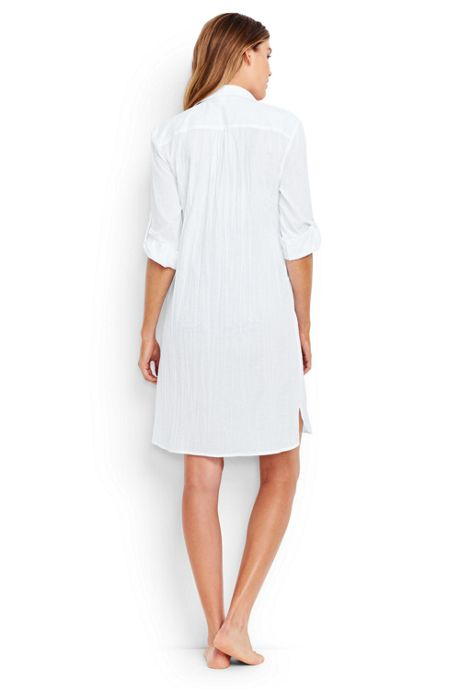 Women's Crinkle Cotton Boyfriend Shirtdress Cover-up