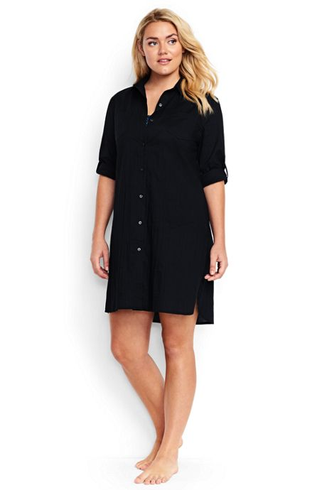 Women's Plus Size Crinkle Cotton Boyfriend Shirtdress Cover-up
