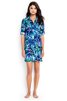 Women's Boyfriend Shirtdress Tropical Palm Beach Cover-up