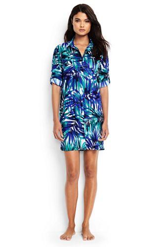 Women's Regular Boyfriend Shirtdress Tropical Palm Beach Cover-up