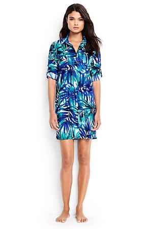 1b32d2a00dcae Women's Boyfriend Shirtdress Tropical Palm Beach Cover-up | Lands' End