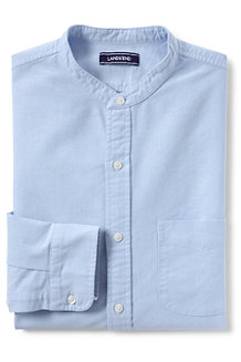 Men's Grandad Collar Oxford Shirt, Tailored Fit