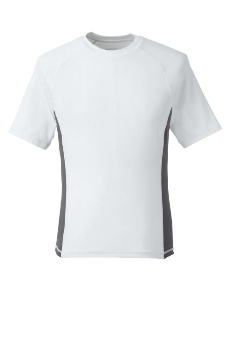 Men's White Short Sleeve Swim Tee Rash Guard