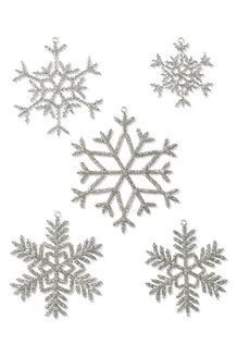 Set of 5 Beaded Snowflake Ornaments