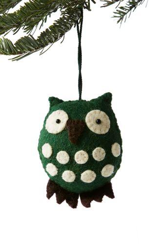 Polka Dot Felt Owl Ornament