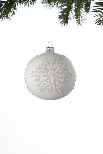 Glas-Baumkugel mit Schneeflockenmotiv, 12 cm